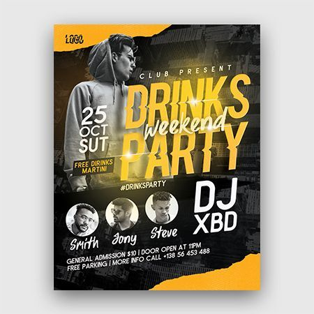 Drinks Party Free Flyer Template (PSD)