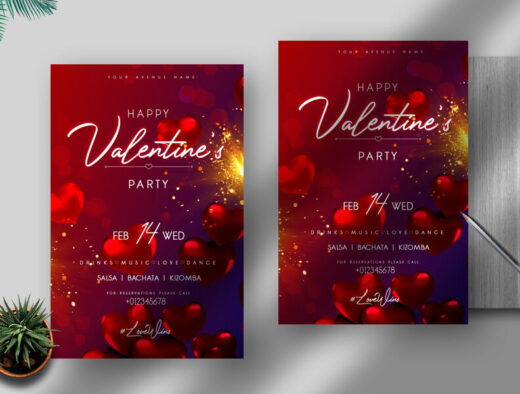 February Event Free Valentine's Flyer Template (PSD)