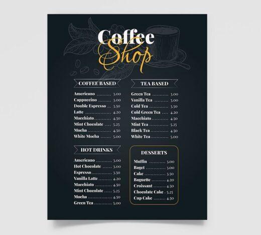 Free Coffee Shop Menu Template (PSD)