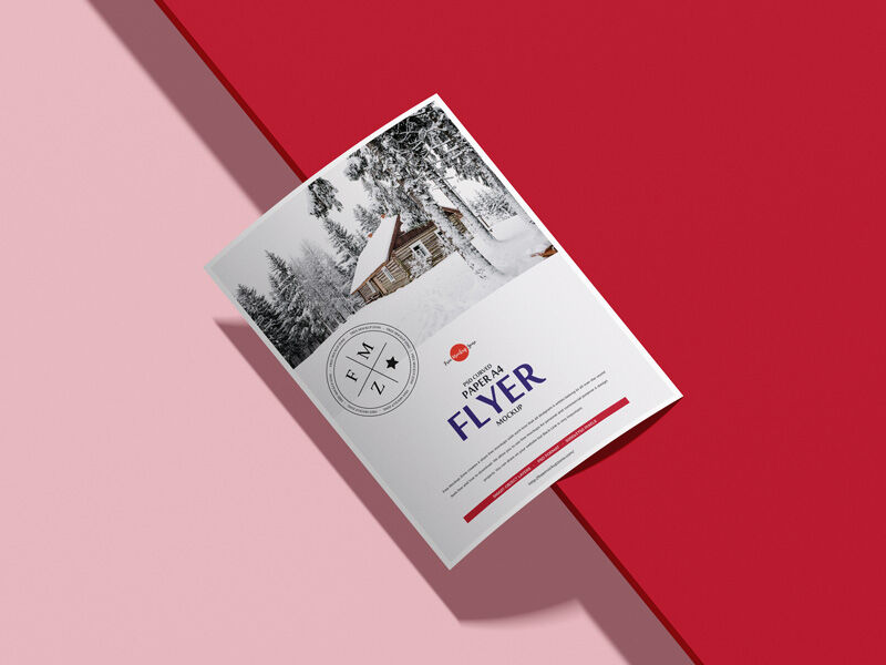 Free Curved Paper A4 Flyer Mockup