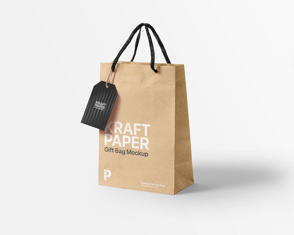 Free Kraft Paper Gift Bag Mockup (PSD)