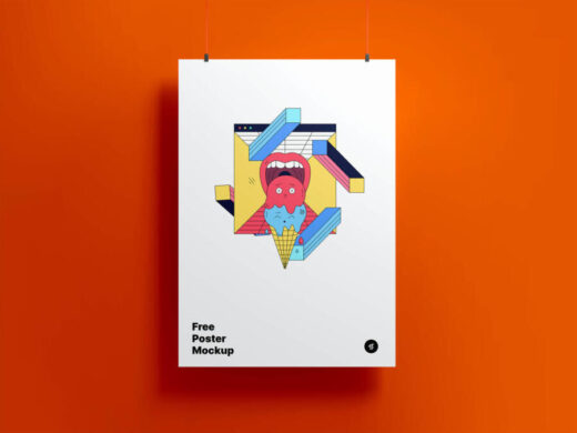 Free Modern Hanging Poster Mockup (PSD)