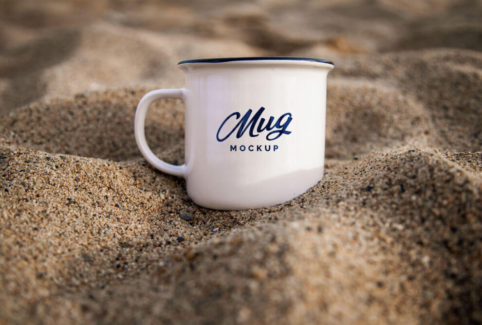Free Mug in Sand Mockup (PSD)