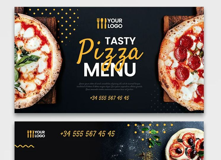 Free Pizza Restaurant Covers Banners Set (PSD)