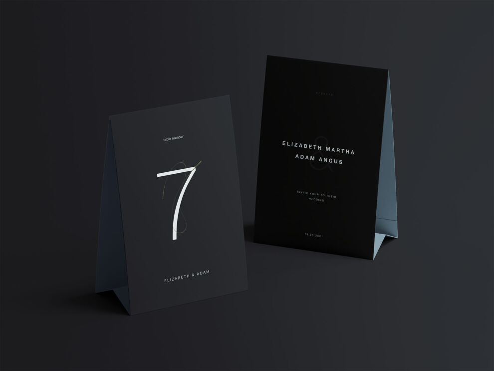 Free Twin Vertical Table Tents Mockup