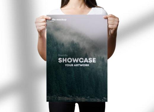 Free Women Holding Poster Mockup