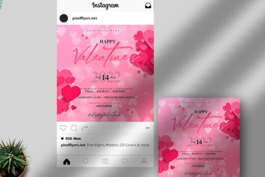 Happy Valentine's Day Free Instagram Banners (PSD)