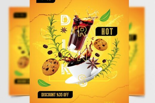 Hot Drinks Party Free Flyer Template (PSD)
