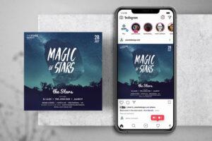 Magic Stars Free Instagram Banner Template (PSD)