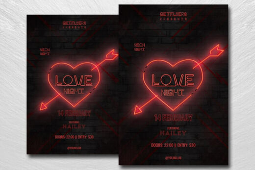Neon Valentine's Day Free Flyer Template (PSD)