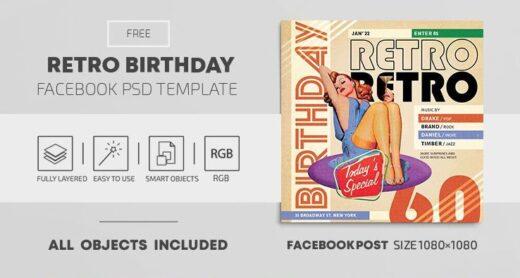 Retro Birthday Event Free Facebook Templates
