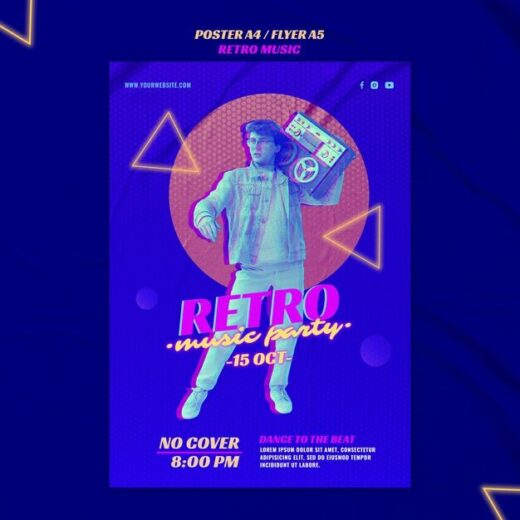 Retro Music Party Free Flyer Template (PSD)