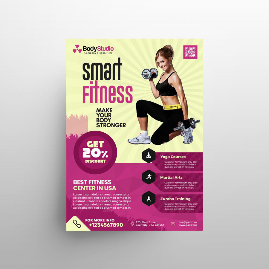 Smart Fitness Gym Free Flyer Template (PSD)