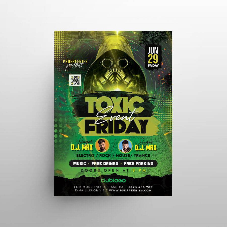 Toxic Music Party Free Flyer Template (PSD)