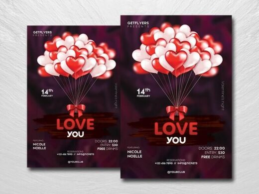 Valentine's Celebration Free Flyer Template (PSD)