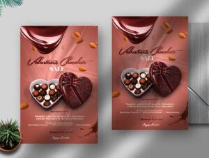 Valentine's Chocolate Sale Free Flyer Template (PSD)