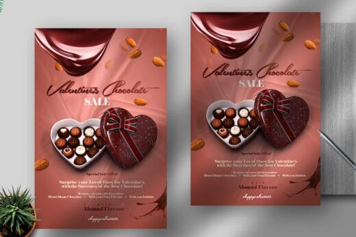 Valentine's Chocolate Sale Free Flyer Template (PSD)
