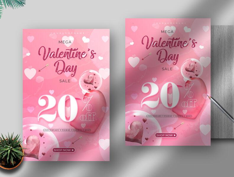 Valentine's Day Mega Sale Free Flyer Template (PSD)