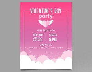 Valentine's Day Party Free Flyer Template (PSD)