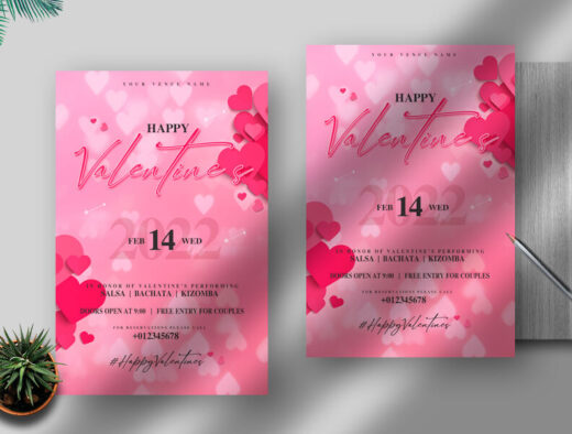 Valentine's Day Sale & Event Free Flyer Template (PSD)