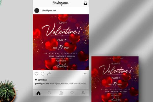 Valentine's Party Free Instagram Banner (PSD)