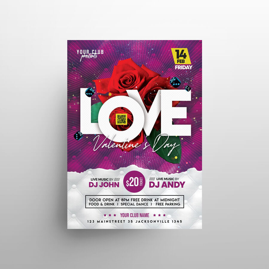 2021 Valentine's Day Event Free Flyer Template (PSD)