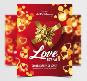 Elegant Valentine's Party Free Flyer Template (PSD)