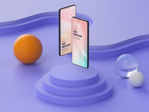 Free Gravity Two Smartphones Mockup