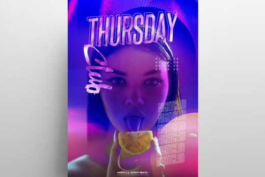 Light Club Party Free Flyer Template (PSD)