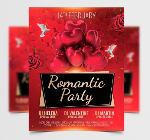 Love Event Valentine's Free Flyer Template (PSD)