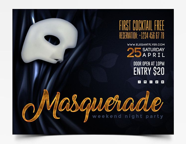 Masquerade Party 2021 Free Flyer Template (PSD)