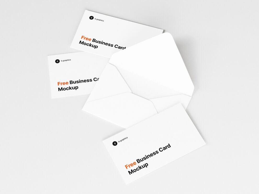 Open Envelope & Business Cards Free Mockup