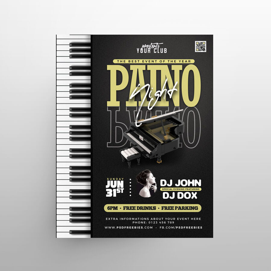 Piano Concert / Festival Free Flyer Template (PSD)
