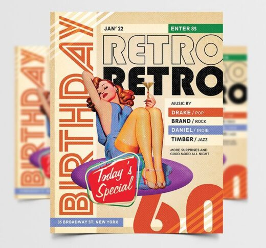 Retro Birthday Party Free Flyer Template (PSD)