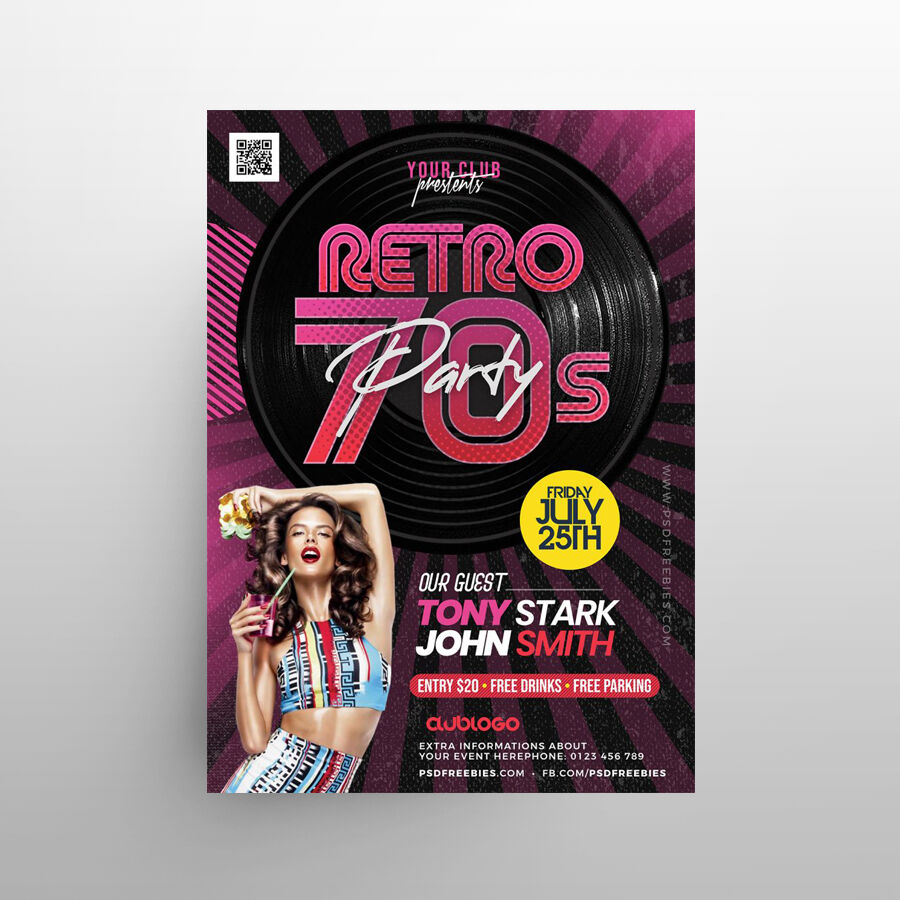 Retro Theme Party Free Flyer Template (PSD)