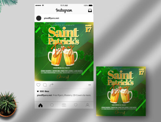 Saint Patrick's Day Free Instagram Banner Template (PSD)