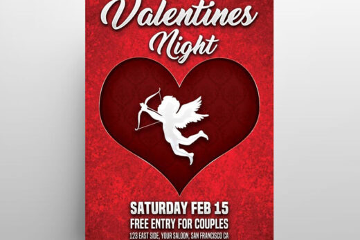 Valentines Night Free Flyer Template (PSD)