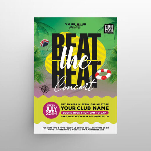 Beach Fun Party Free Flyer Template (PSD)