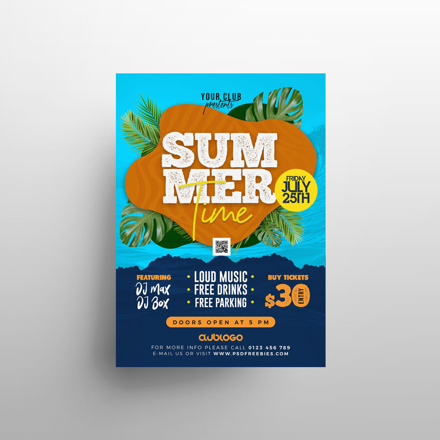 Beach Party Time Free Flyer Template (PSD)