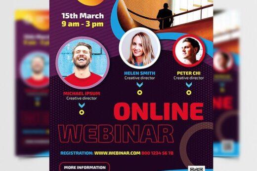 Business Online Webinar Free Flyer Template (PSD)