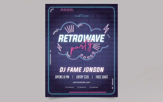 Neon Glow Vibe Free Flyer Template (PSD)