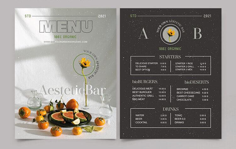 Organic Food & Drink Menu Free PSD Template