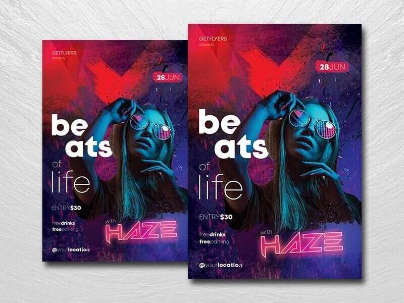 Beats of Life Free PSD Flyer Template