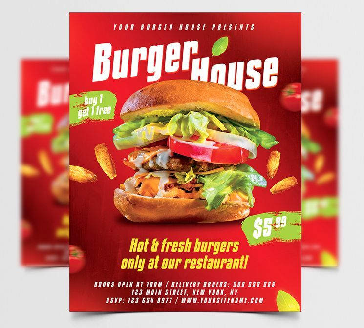 Burger House Ad Free Flyer Template (PSD)