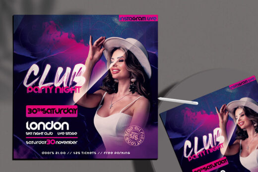 Club Party Night Free Flyer Template (PSD)