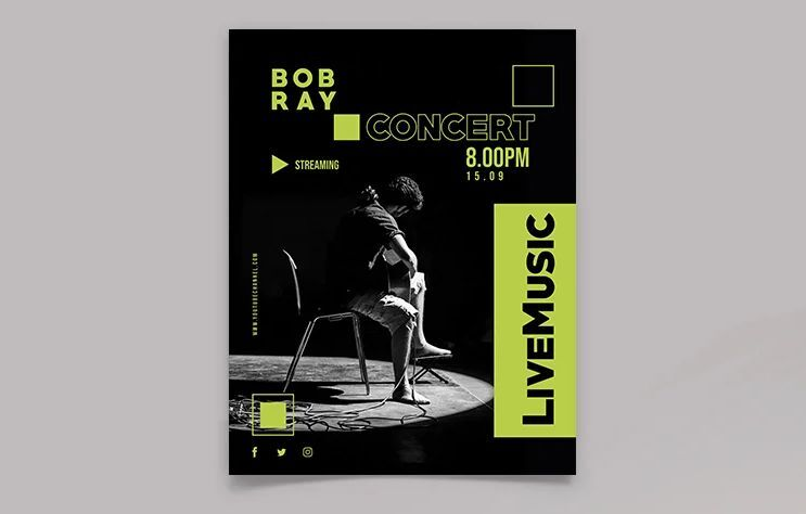 Concert Streaming Event Free Flyer Template (PSD)