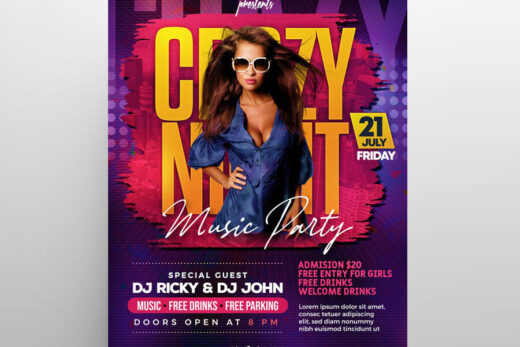 Crazy Club Party Free Flyer Template (PSD)