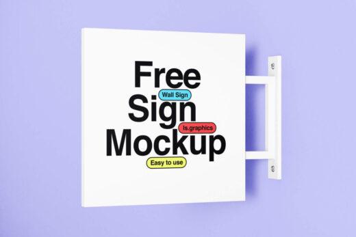 Free Minimalistic Wall Sign Mockup