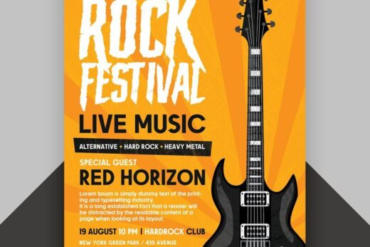 Free Rock Festival Flyer Template (PSD)