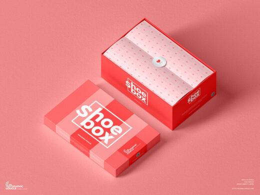 Free Shoe Box Packaging Mockup